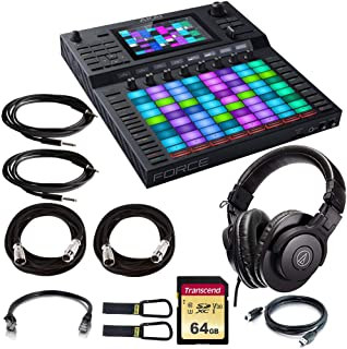 Akai Professional Force Standalone Music Production and DJ Performance System + ATH-M30x Studio Headphones +64GB U3 SD Memory Card + Ethernet,Instrument,XLR Mic Cables + Cable Carrier