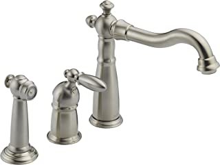 Delta Faucet Victorian Single-Handle Kitchen Sink Faucet with Side Sprayer in Matching Finish, Stainless 155-SS-DST