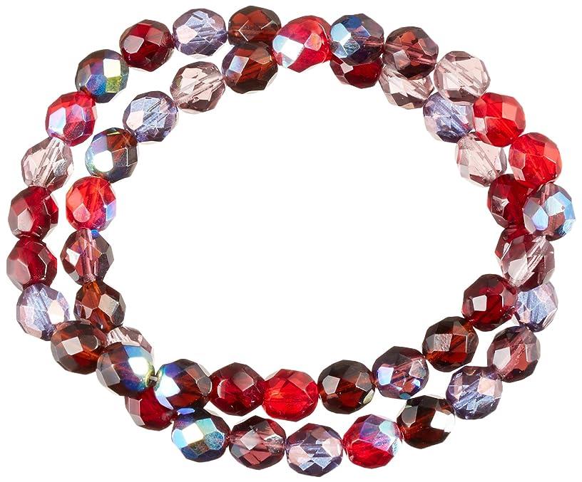 Jablonex Czech Fire Polish Vineyard Round Glass Beads (50 Pack), 8mm, Red/Purple
