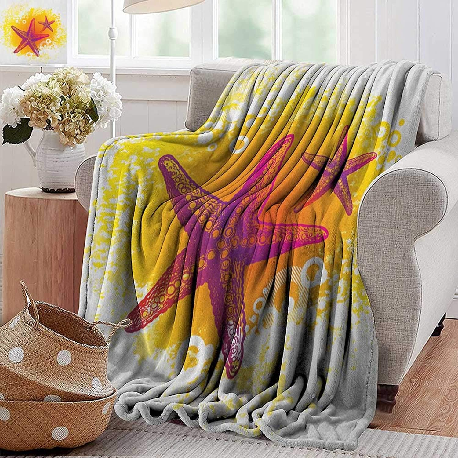 XavieraDoherty Summer Blanket,Starfish,Vibrant colord Tropic Animals and Artistic Bubbles Tranquil Scene, Fuchsia Hot Pink Yellow,300GSM, Super Soft and Warm, Durable 50 x60