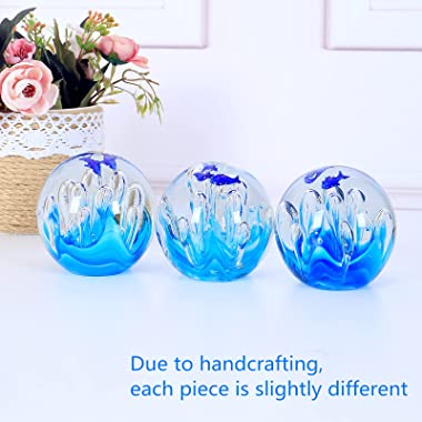Hand Blown Glass Coral Figurines Ball,Paperweight Glass Ball,Sea Plant Ornament for Fish Tank Aquarium,Sea Plant Collection f