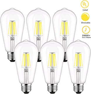 Dimmable Edison LED Bulb, Daylight White 4000K Bright Edison Light Bulbs, Kohree 6W Vintage LED Filament Light Bulb, 60W Equivalent, ST64 E26 Base for Home, Restaurant, Reading Room, UL Listed 6 Pack