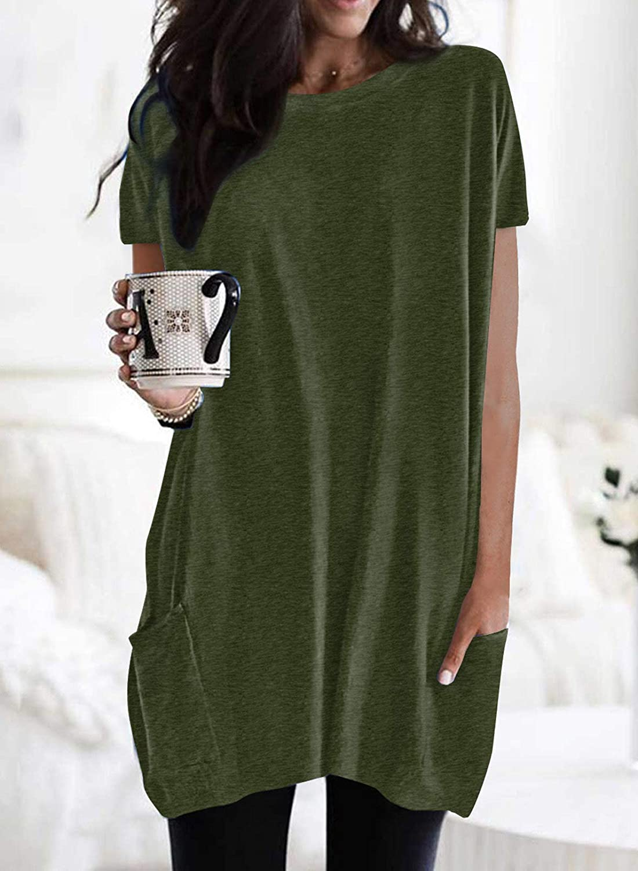 ROSKIKI Womens Solid Casual Short Sleeve Pocket Long T-Shirts Blouse Tunic Tops