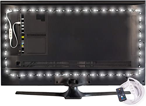 Power Practical Luminoodle Professional Bias Lighting - 15 Colors + 6500K True White LED TV Backlight | Adhesive RGB+...