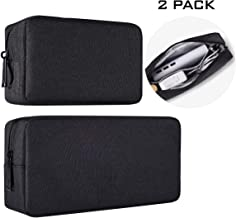 imComor Universal Electronics Accessories Case, 2-Pack Portable Soft Carrying Case Bag Wire Cable Organizer for Hard Drive, Power Adapter, Laptop Mouse, Cosmetics Kit, Small+Big-Black