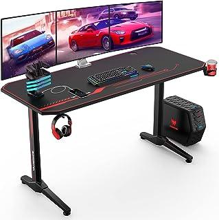 VANSPACE GD02 55'' Bureau Gaming 140 x 65 x76 cm Grand Bureau Gamer Table de Gaming PC d'ordinateur Table Desk avec Tapis ...