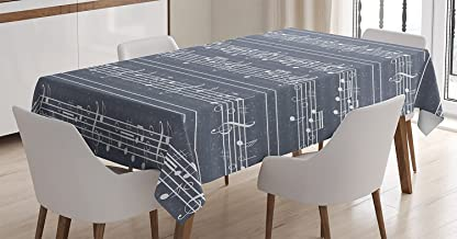 Grey Decor Tablecloth by Ambesonne, Classical Music Clay with Notes in Symbols Rhythm Jazz Song Melody Treble Clef Image, Dining Room Kitchen Rectangular Table Cover, 52W X 70L Inches, White