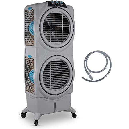 Symphony Sumo 75 XL DD Powerful Double Decker, Desert Air Cooler 75-litres, Double +Air Fan, Easy-Fill, 3-Side Honeycomb Pads, i-Pure Console (Grey)
