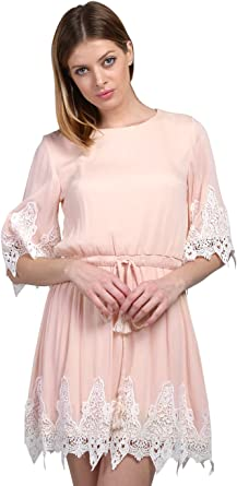Wink Gal Women's Boho Casual Half Sleeve Crochet Loose Mini Flowy Dress