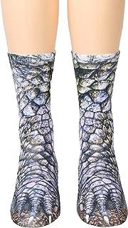 HYDZ, HYDZ: Calcetines con Estampado de Huella Animal, 3D HD, elásticos, realistas, para Adultos, niños y niñas, diseño de Dinosaurio, Talla única