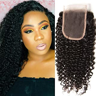 Malaysian Jerry Curly Lace Closure One Piece Only 4x4 Free Part Curly Hair Closure Natural Black Virgin Human Hair Lace Closure 10 inch
