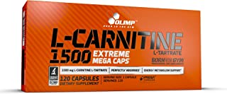 Olimp L-Carnitine 1500 Extreme Mega Caps - Pack of 120 Capsules - 120 Servings - Weight Loss Diet - Perfect for Biking, Ru...