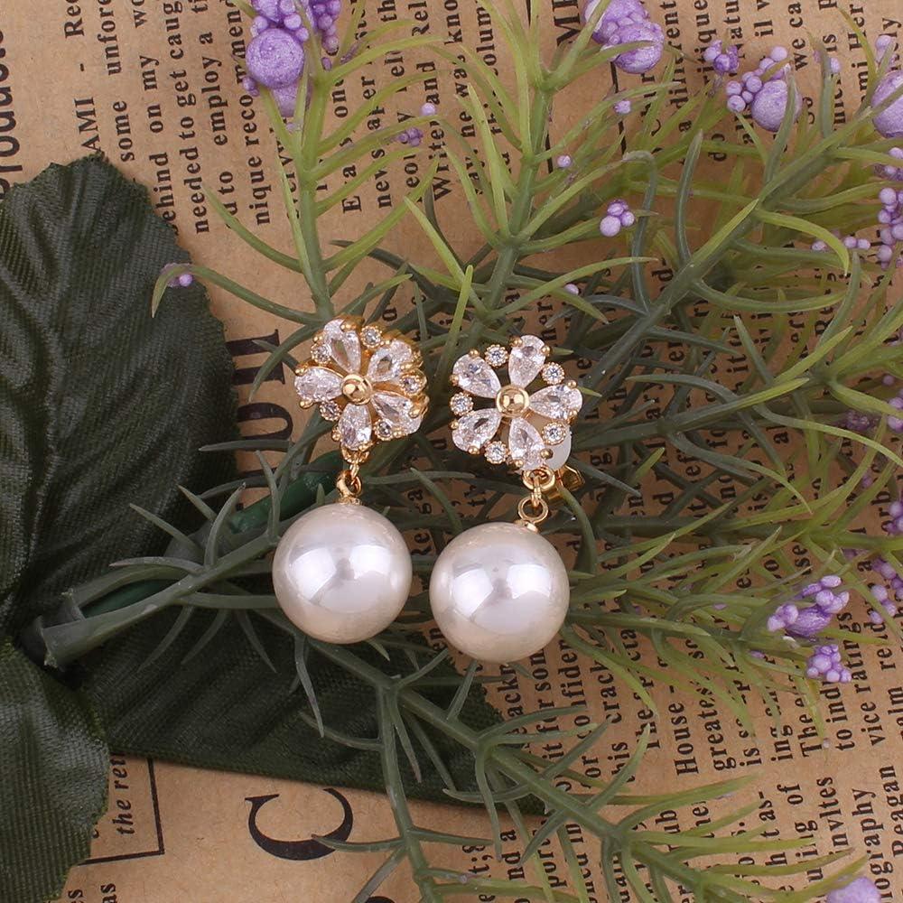 HAPPYAN High-grade AAA CZ Pearl Flower Shape Clip on Earrings for Women Party Wedding No Pierced Earrings Charm Jewlery