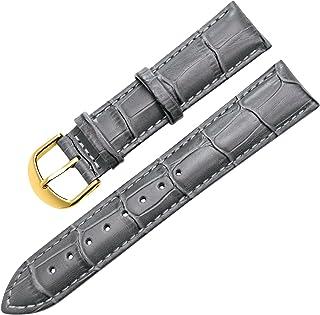 【TON CHARME】トンチャーメー腕時計用ベルト 本革 カーフレザー 時計バンド グレー・ブラック・ブラウン・ブラウン白線 ・ブラック白線・ライトブラウン・ダークブラウン (20mm, ダークグレー×ゴールド バックル)