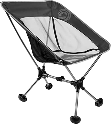 WildHorn Outfitters Terralite Portable Camp/Beach Chair (Supports 350 lbs) with TerraGrip Feet - Black