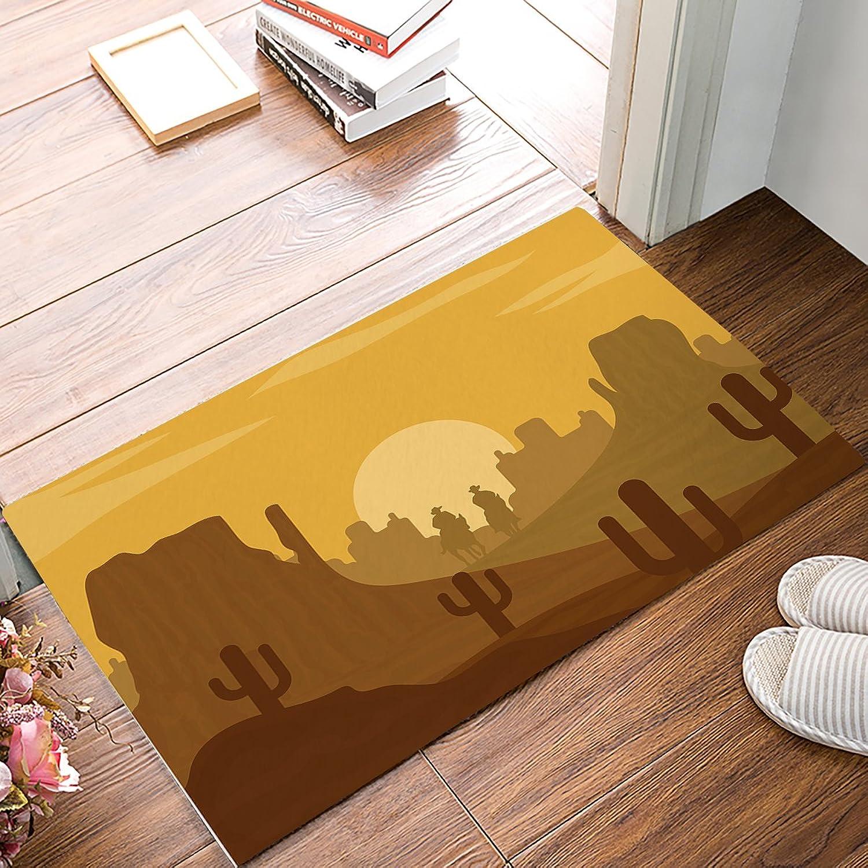 Family Decor Western Landscape Graffiti, Desert, Cactus Elements Rectangle Kitchen Doormat Entrance Mat Floor Mat Rug Indoor Outdoor Front Door Bathroom Mats Rubber Non Slip Yellow and Dark Yellow
