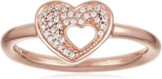 Pandora Women's Rose heart ring with clear cubic zirconia Ring