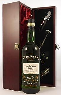 """Auchentoshan Lowland 15 year old Malt Whisky 1981 Cadenhead""""s Cask Strength Bottling in einer mit Seide ausgestatetten Geschenkbox, da zu 4 Weinaccessoires, 1 x 700ml"""