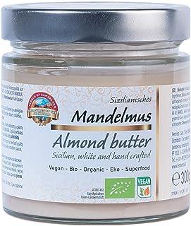Crema de almendra blanca siciliana orgánica pura 300g BIO Manteca, mantequilla, puré, 100% de almendras, sin sal y azúcar, vegana, almond butter