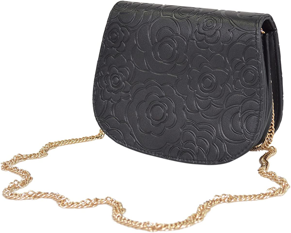 Elegant Small Floral Round Flap Crossbody Handbag Clutch Evening