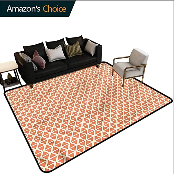 TableCoversHome Orange Music Area Rug Kilim Groovy Soft Triangles Pattern Printing Door Mat Durable Rugs Living Dinning Office Rooms Bedrrom Hallway Carpet 2 5 X 9