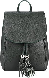 ITALYSHOP24.COM OBC Made in Italy Damen Echt Leder Rucksack Cityrucksack Backpack Daypack Schultertasche Lederrucksack Handtasche Stadtrucksack