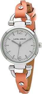 Laura Ashley Womens LA31042OR Silver Round Dial Orange Twisted Riveted Skinny Strap Watch