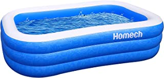 Homech Inflatable Swimming Pools, Inflatable Kiddie Pools, Family Swimming Pool, Swim Center for Kids, Adults, Babies, Toddlers, Outdoor, Garden, Backyard, 92 x 56 x 22 in