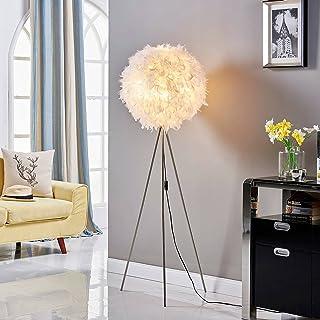 LED Lampadaire Trepied 'Pauline' (Moderne) en Blanc en Textile e. a. pour Chambre à coucher (1 lampe,à E27) | Lampadaire S...