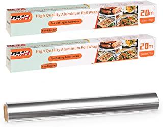 2X Heavy Duty Aluminium Foil, 18 Micron Non-Stick Tin Foil Roll for Kitchen Catering Cooking Baking Use, 30cm x 20m