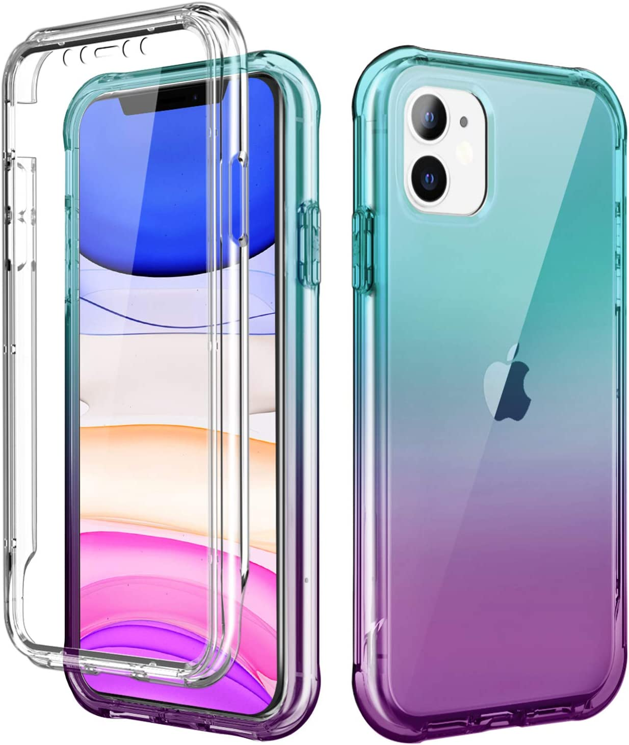 SKYLMW iPhone 11 Case 2019 6.1 inch,[Built in Screen Protector] Full Body Shockproof Dual Layer High Impact Protective Hard Plastic & TPU Phone Tough Cover Cases for Women Men,Blue-Violet Gradient