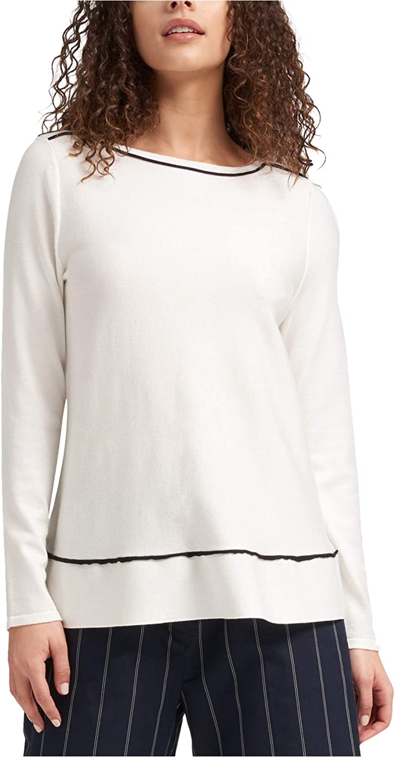 DKNY Womens Trapeze Pullover Blouse, White, Large