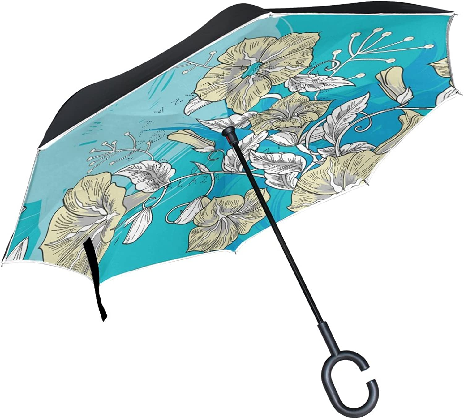 LEISISI Floral Petunia Flowers Double Layer Ingreened Umbrella Reverse Auto Open Umbrella Windproof UV Predection Upside Down Umbrella for Car Rain Outdoor Use