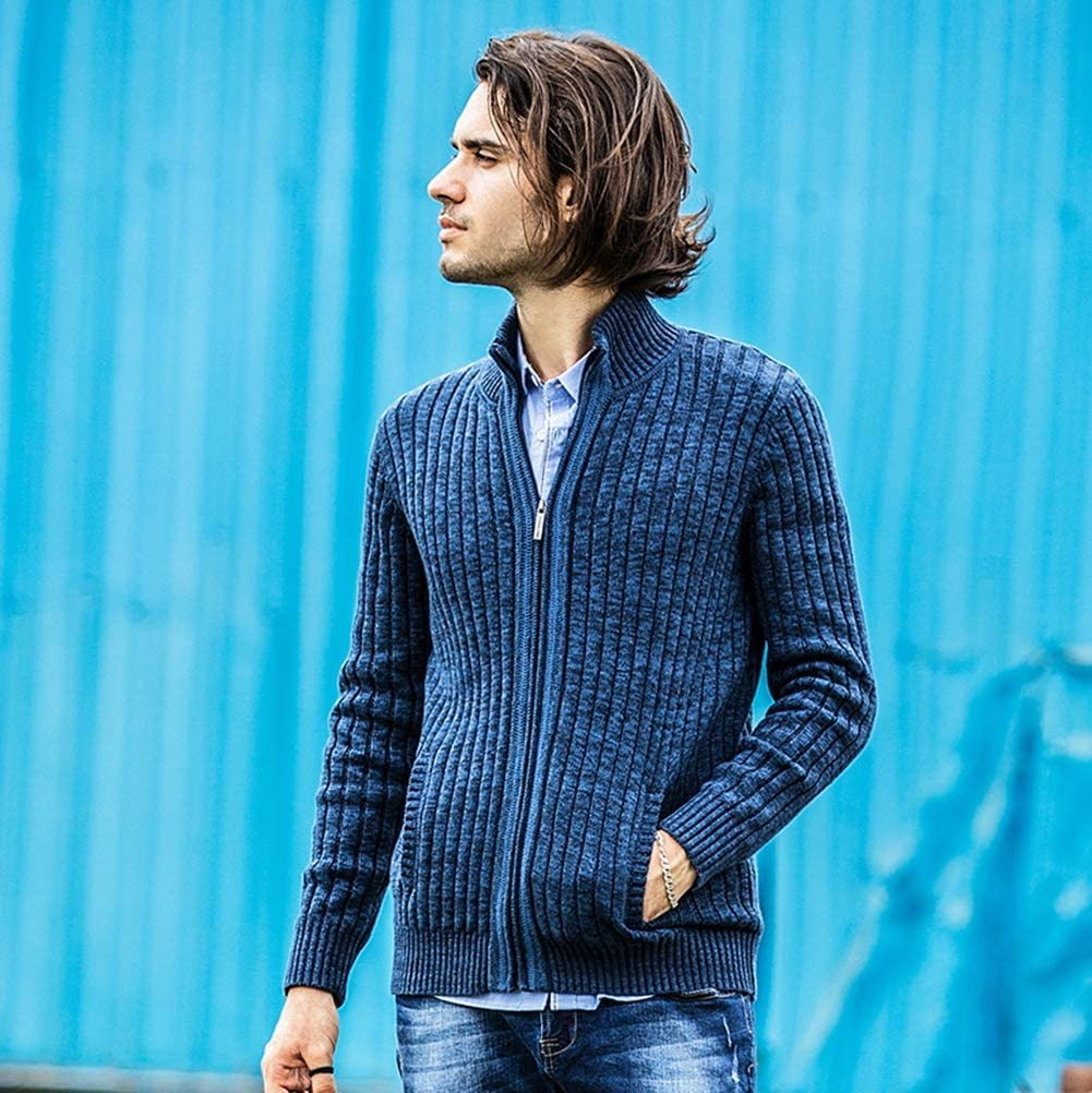 Hzikk Mens Cardigan Sweater Slim Fit Zipper Male Sweaters Cardigan for Men,Blue,M