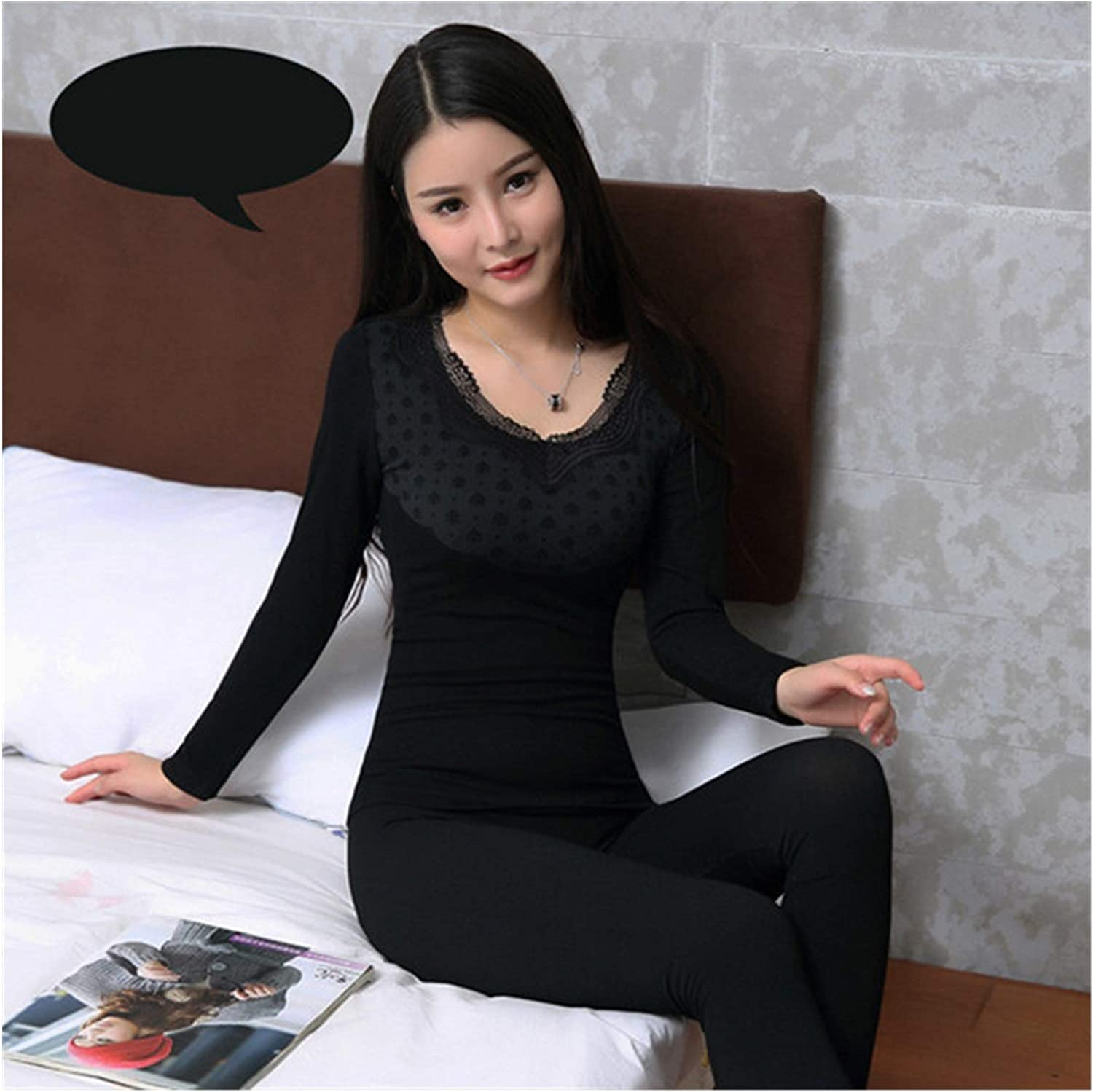 Seamless Second Thermal Female Skin Lace V-Neck Slim Body Thermal Underwear for Women Modal Long Johns (Color : Black, Size : One Size)