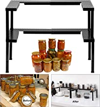 Expandable and Stackable Spice Rack Organizer for Cabinet & Pantry, Nandae 2 Tier Adjustable Height Spicy Shelf, Stable Priumum Iron (Black)