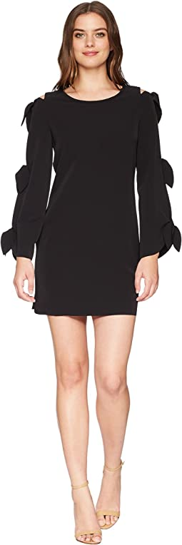 Laundry by Shelli Segal Crepe Shift Dress with Ties Sleeve Detail