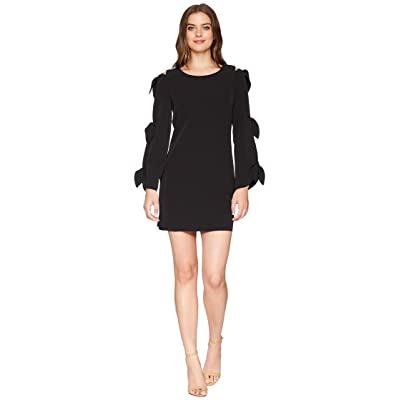 Laundry by Shelli Segal Crepe Shift Dress with Ties Sleeve Detail (Black) Women