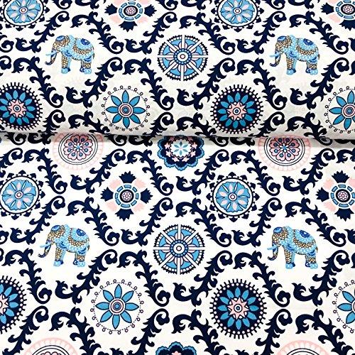 Erstklassiger Baumwollstoff 0,5lfm, 100{4de5f972c3cee06c6149c4d55e32fbe59f2839e993ba3713b116e96fdcfc46b4} Baumwolle, modische Muster, Breite 160cm – Elefant, Mandala, Elefant indisches Muster