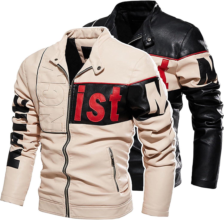 Men's Faux Leather Jacket Fleece Lining Windproof Autumn Winter Pilot Biker Zip Jacket