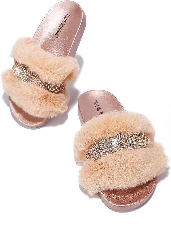 Cape Robbin Cassette Furry Faux Fur Slides Slippers for Women, Fluffy Slippers - Rose Gold Size 8