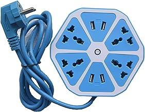 Suneetri Store हेक्सागोन इलेक्ट्रिकल एक्सटेंशन कॉर्ड 4 सर्ज पावर सॉकेट 4 USB पोर्ट के साथ कंप्यूटर के लिए 6 ft. वायर प्रो...