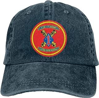 HUZEMINniu 1st Battalion 11th Marine Regiment of USMC Unisex Adult Baseball Hats Cowboy Hats Denim Hats Dad Hat