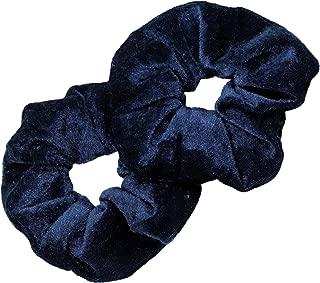 Kenz Laurenz Scrunchies for Hair - 2 Velvet Hair Ties for Women Girls Hair Elastics Ponytail Holder Scrunchy Girl Accessories Elastic Hair Bands Scrunchie Pack (Navy)