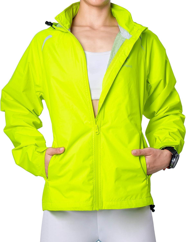 Hodgsonii Womens Running Jackets Outdoor Hooded Biking Cycling Windbreaker Warterproof Windproof Packable Reflective