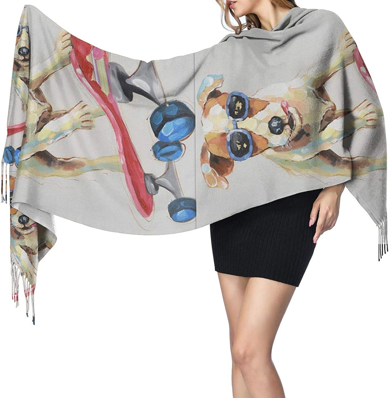Skateboard Dog Cashmere Feel Scarf Lightweight Soft Scarfs For Boys Girls Creative Warm Cold Weather Blanket Scarf