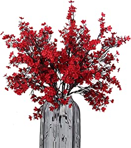 JAKY-Global Babys Breath Fabric Cloth Artificial Flowers 6 Bundle European Fake Silk Plants Decor Wedding Party Decoration Bouquets Real Touch DIY Home Garden(Red)