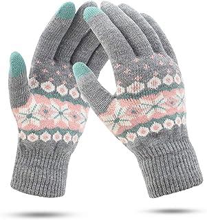 Warm Gestrickte F/ünf-Finger-Handschuhe Winterhandschuhe rutschfeste Elastische Manschettenhandschuhe Arbeiten Im Freien Sport La Damen Winterhandschuhe,/Perlmutt-Touchscreen Mit Leopardenmuster