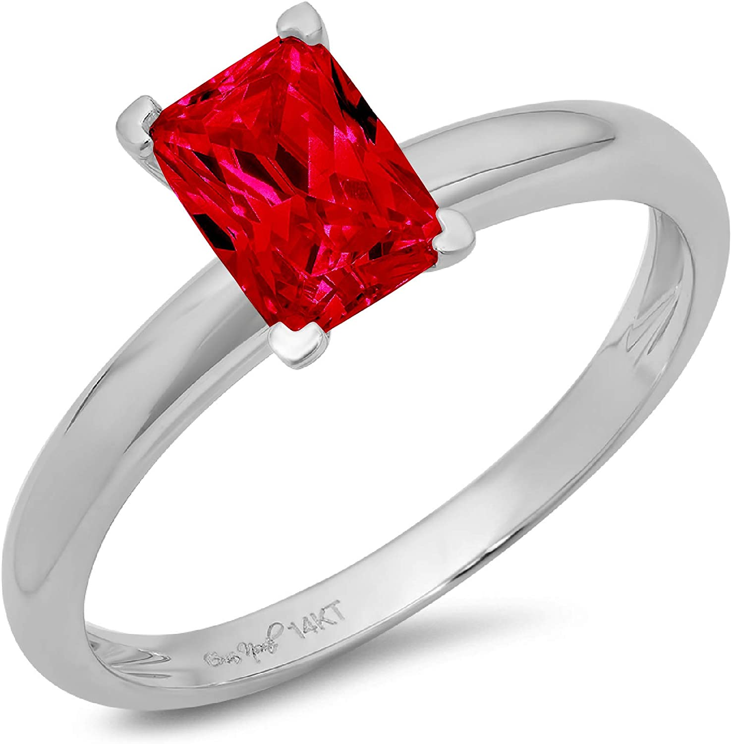 1.0 ct Brilliant Emerald Cut Solitaire Flawless Simulated CZ Red Ruby Ideal VVS1 4-Prong Engagement Wedding Bridal Promise Anniversary Designer Ring Solid 14k White Gold for Women