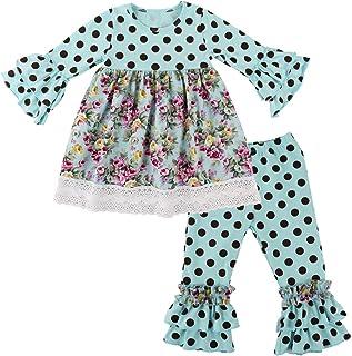 Wennikids Children Kids 2 Pieces Long Sleeve Ruffle Dress & Pants Outfits